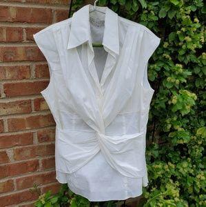 Trina turk white sleeveless twist wrap blouse L